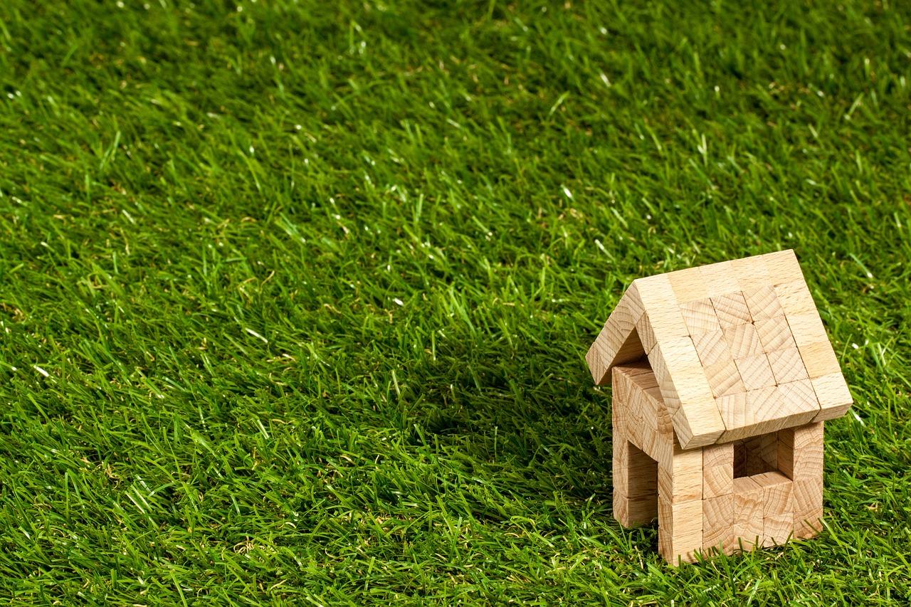 et hus på en græsplæne